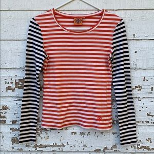 Tory Burch Long Sleeve Striped Cotton Tee